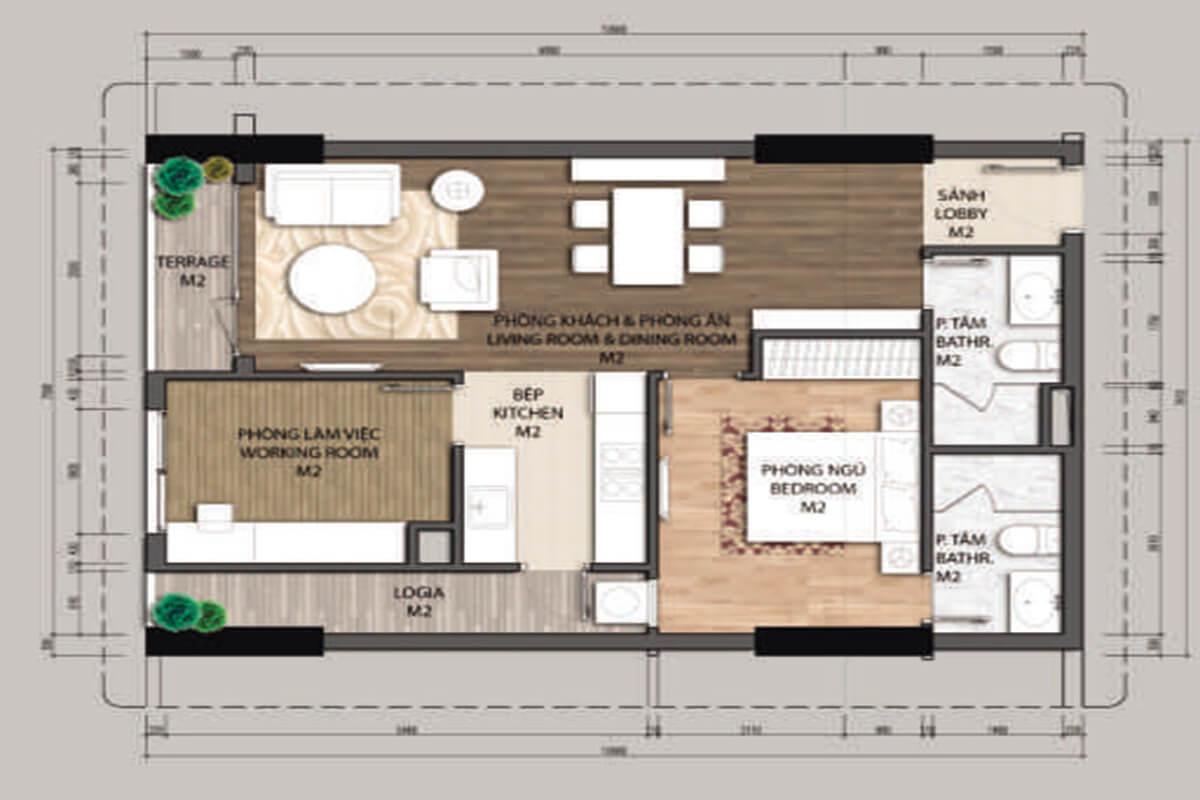 Mặt bằng căn hộ A2.2-1 phòng ngủ – 69.8m2