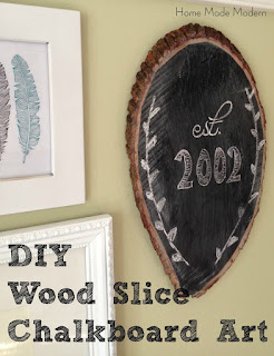 wood slice chalkboard