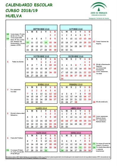 Calendario Escolar Huelva.Calendario Escolar Curso 2018 2019 C E I P Sanchez Arjona