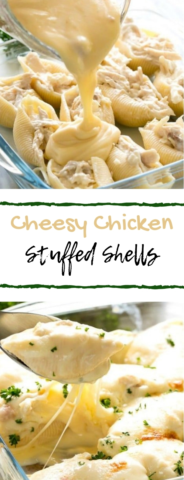 Cheesy Chicken Stuffed Shells #chicken #dinner