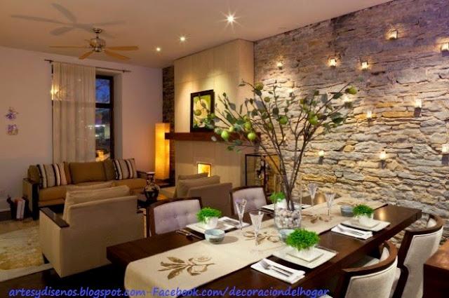 Ambientes con paredes de piedras : decoración del hogar, diseño de ...