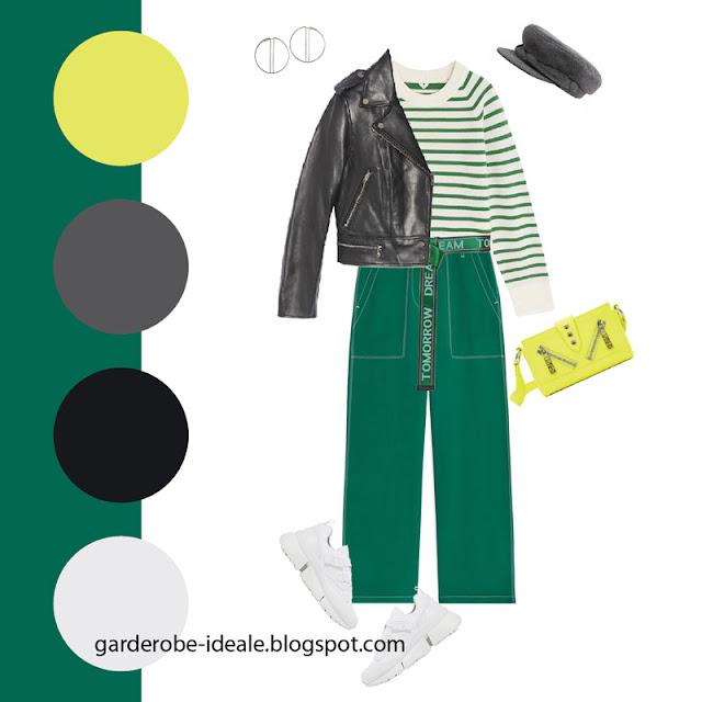 Зеленые брюки карго и тельняшка