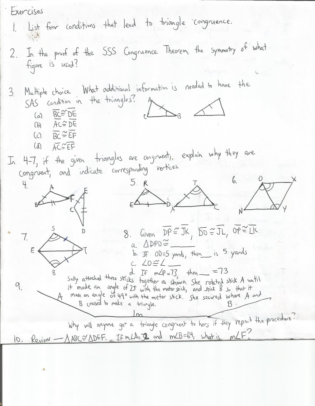 Geometry Common Core Style Lesson 7 2 Triangle