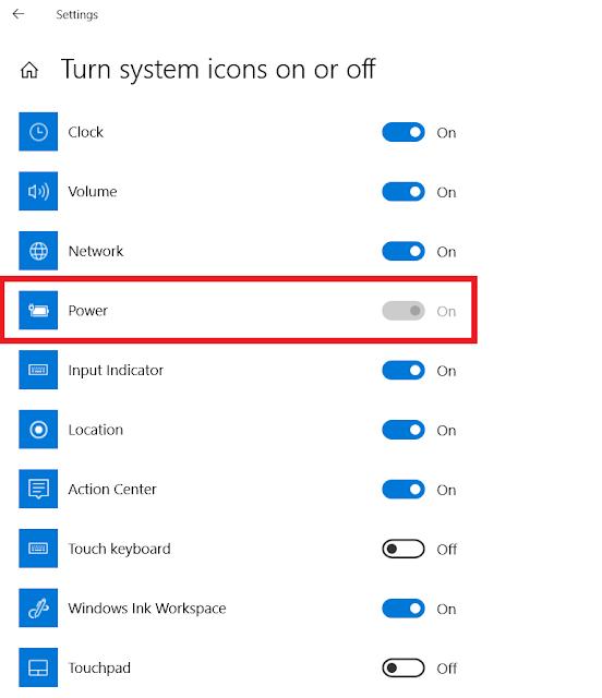 Icon Baterai Laptop Hilang