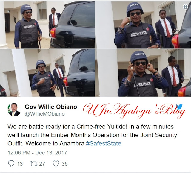 PHOTOS: Gov. Obiano In New Security Kit Launched For Police In Anambra To Curb Crime At Christmas Season