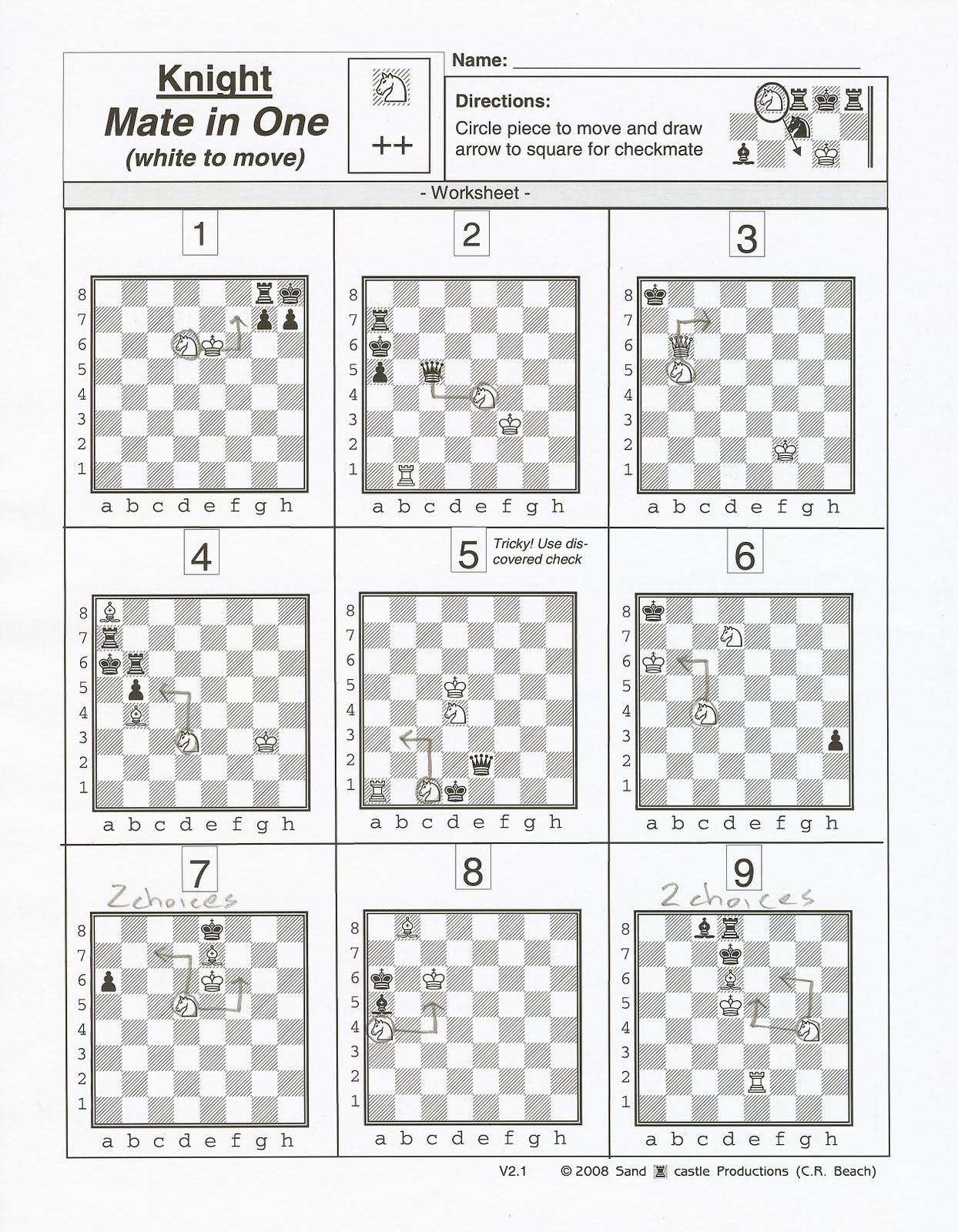 Matteson Library Chess Players Answers For July 13th