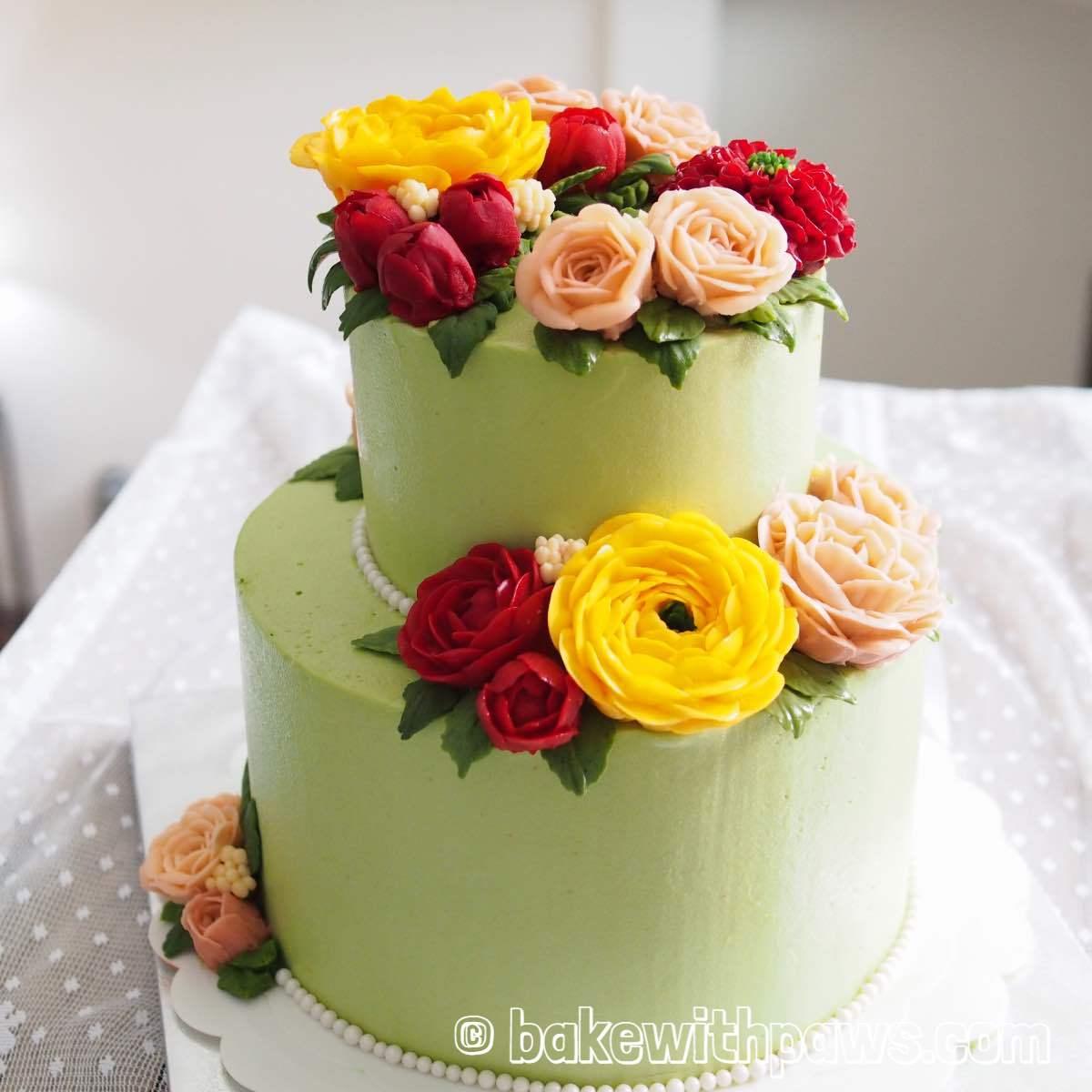 Korean Style Buttercream Flowers Cake - 27 - BAKE WITH PAWS