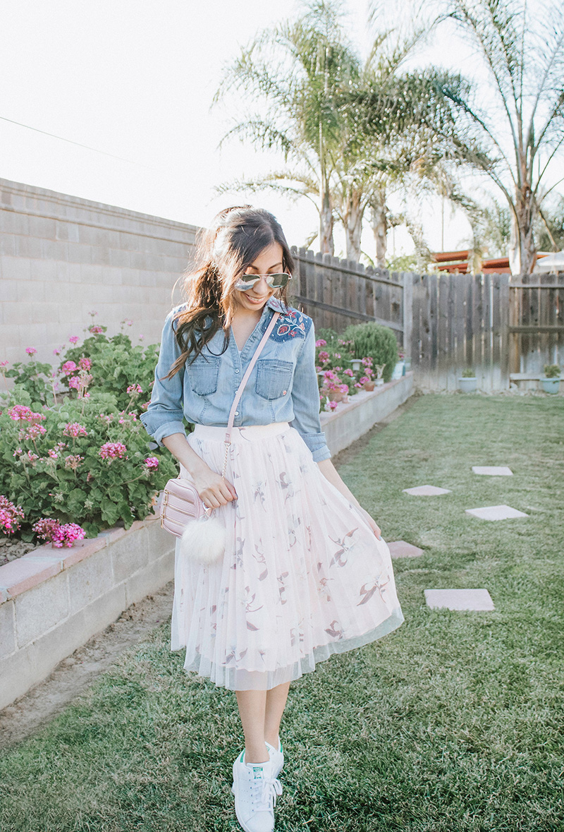 chambray top with blush tulle skirt modest outfit