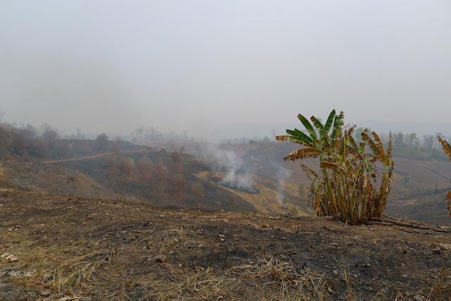 Crop burning near Nan - Thailand