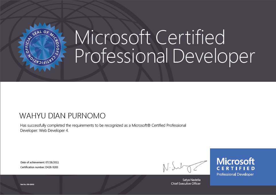 Microsoft Certified Professional Developer (MCPD), Web Developer 4, 2011