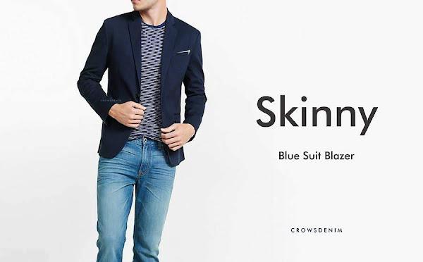 indonesia shop blue skinny suit blazer sk84 biru