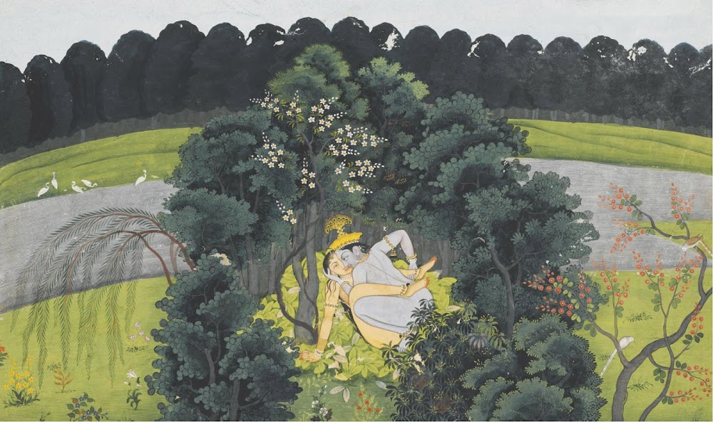 Krishna and Radha making love in a leafy bower on the banks of the Yamuna - Kangra or Guler Painting, C. 1780