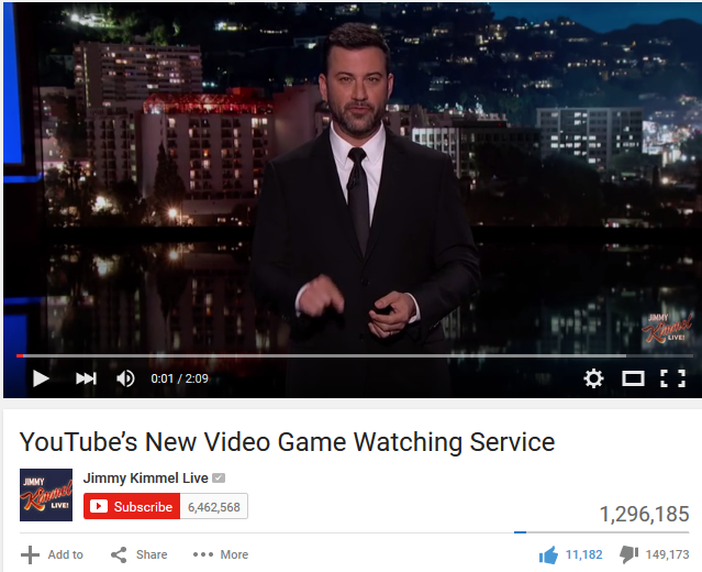 Jimmy Kimmel YouTube Gaming service video comedy dislike bar backlash