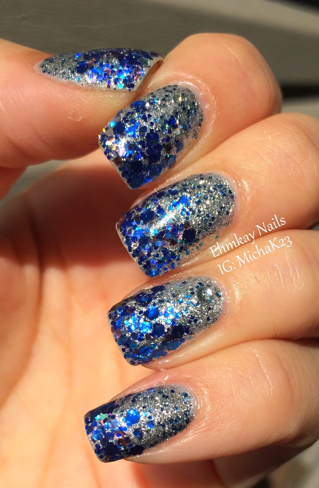 Blue And Silver Decoration Living Room: Ehmkay Nails: Blue And Silver Glitter Gradient For My