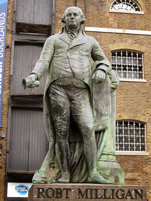 Statue of Robert Milligan by Richard Westmacott, West India Docks, Canary Wharf, London