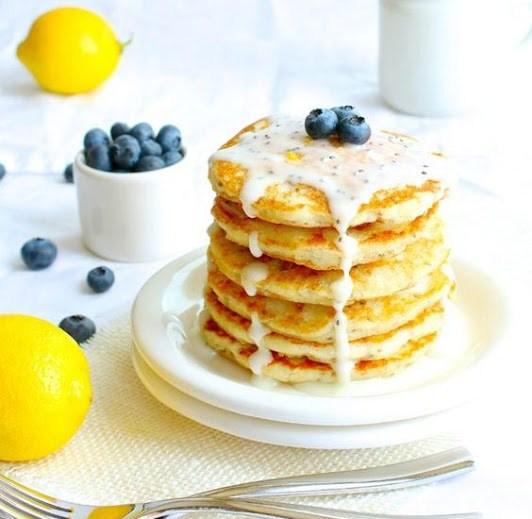 Gluten Free Lemon Chia Seed Pancakes