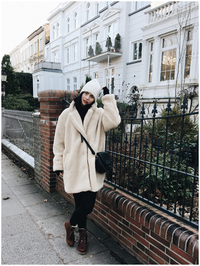winter fashion, style, outfit, beige h&m teddy coat, white h&m beanie, brown panama jack boots