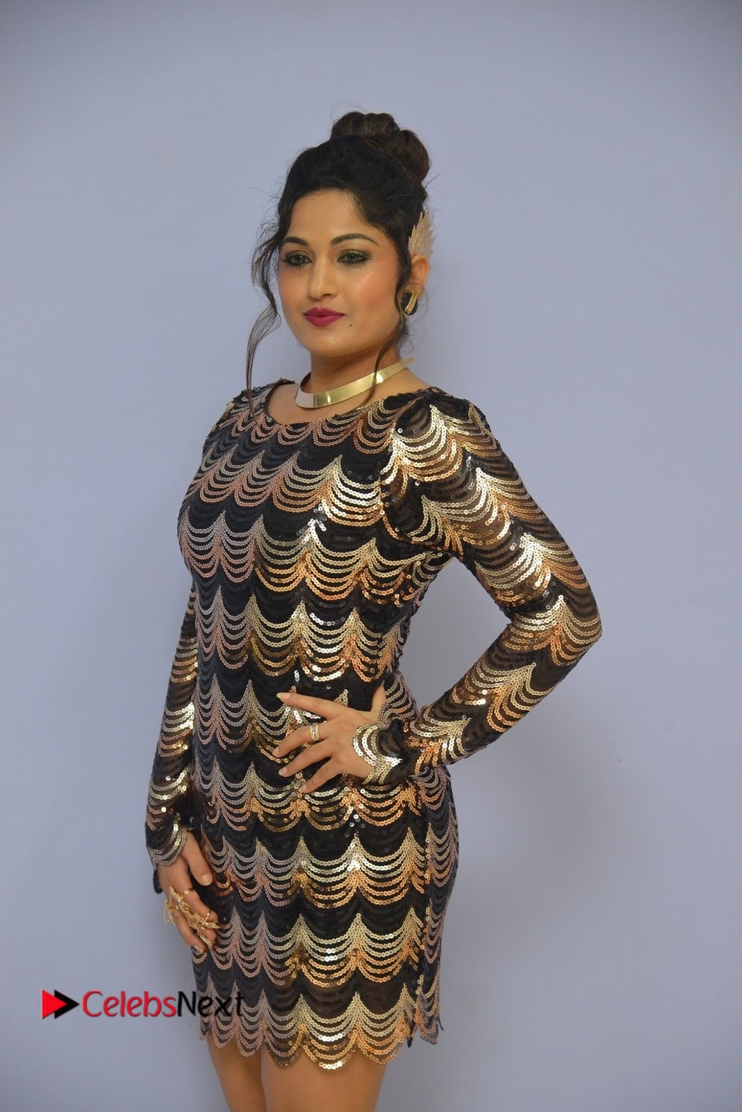 Actress Madhavi Latha  Pictures in Short Dress at On Mona Birthday Premiere  0025.JPG