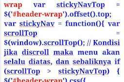 Kode HTML sticky menu navigasi