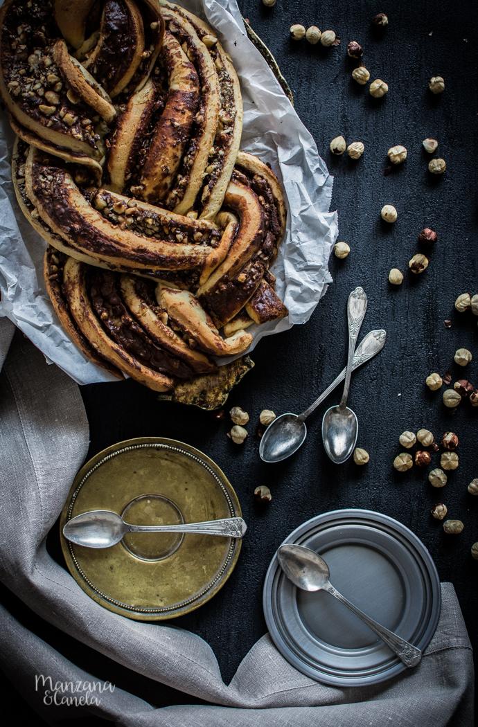 Trenza de Nutella y avellanas