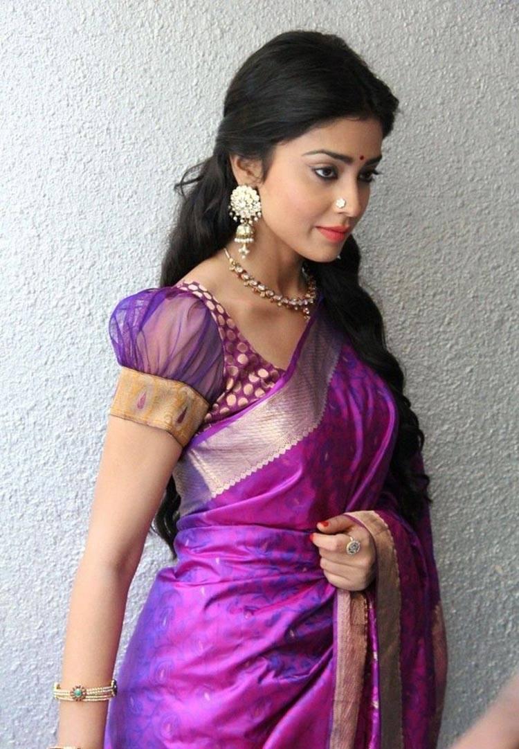 Shriya Saran Photos In Violet Saree