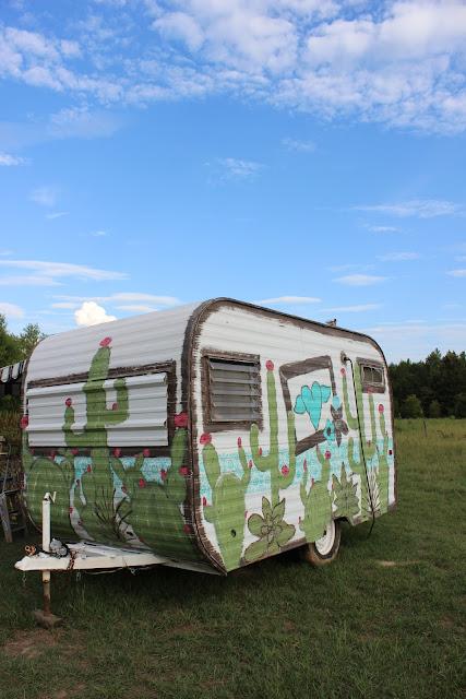 Hand painted vintage camper