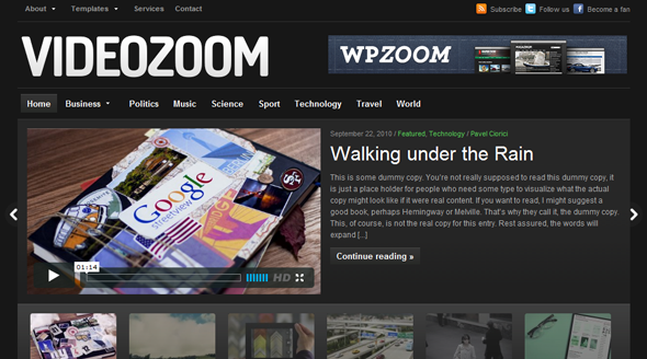 Videozoom Video Wordpress Theme Free Download by WpZoom.