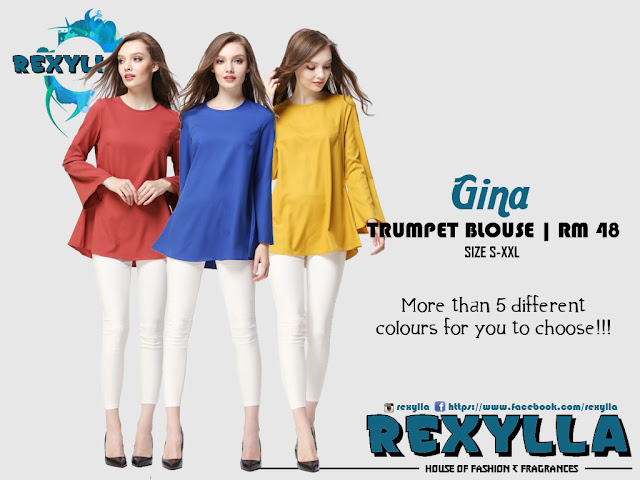 rexylla, trumpet blouse, gina collection