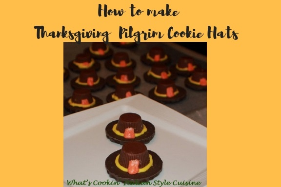 this is how to make Thanksgiving Pilgrim hats out of fudge striped cookies and peanut butter cups
