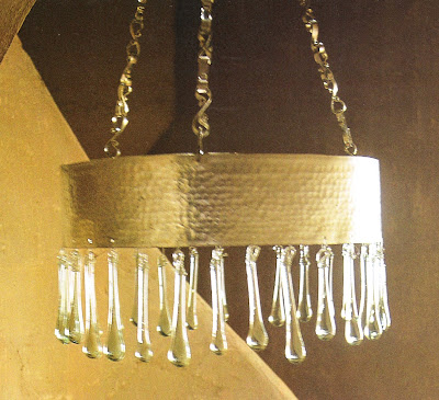 Gold and Crystal Drop Hanging Fixture, Côté Sud Dec02-Jan03 as seen on linenandlavender.net