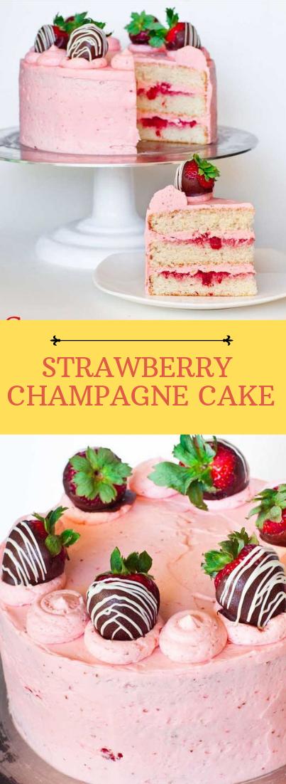 STRAWBERRY CHAMPAGNE CAKE #desserts #cakerecipe