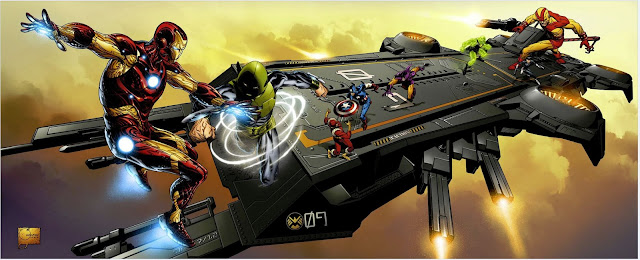 San Diego Comic-Con 2012 Exclusive Marvel Universe The Avengers Helicarrier Packaging Artwork by Joe Quesada