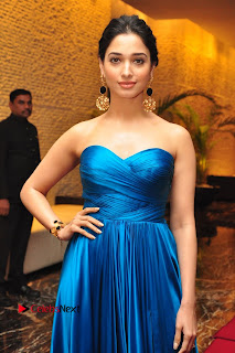 Actress Tamannaah Pictures in Blue Long Dress at Abhinetri Audio Launch  0130.jpg