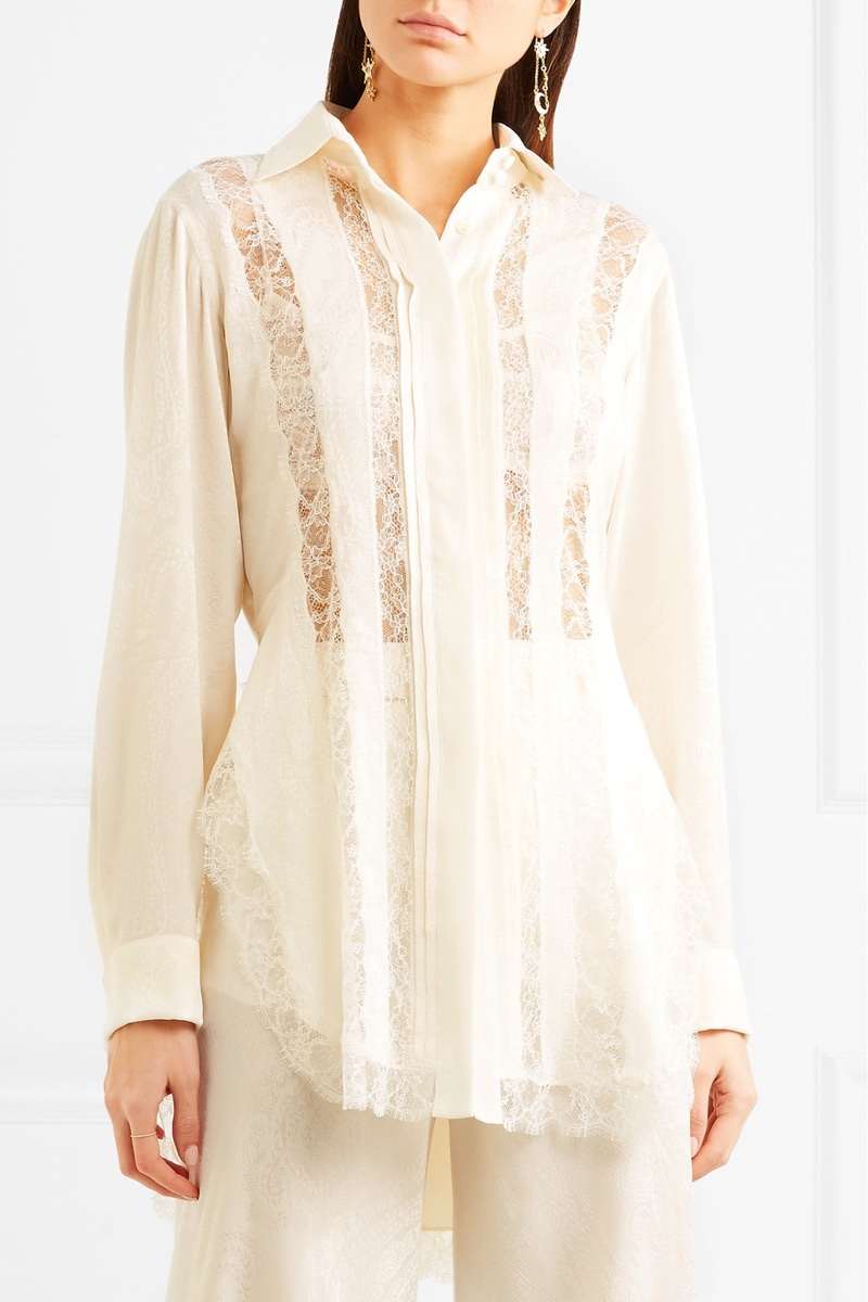 Etro Lace-Paneled Silk-Jacquard Shirt