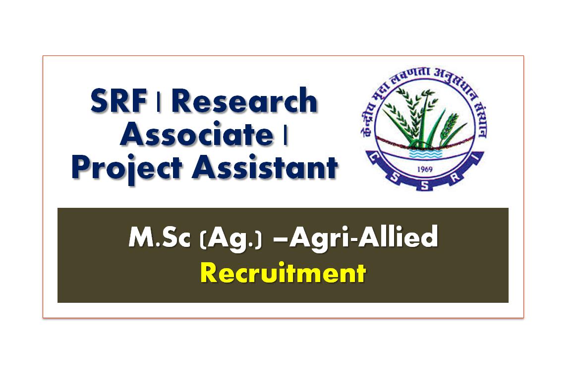 SRF,Research Associate & Project Assistant Recruitment