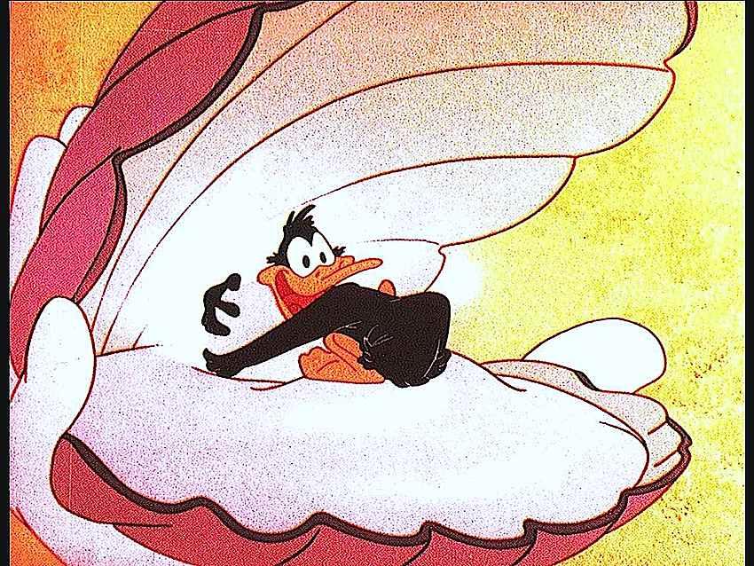 Daffy Duck hugs a pearl