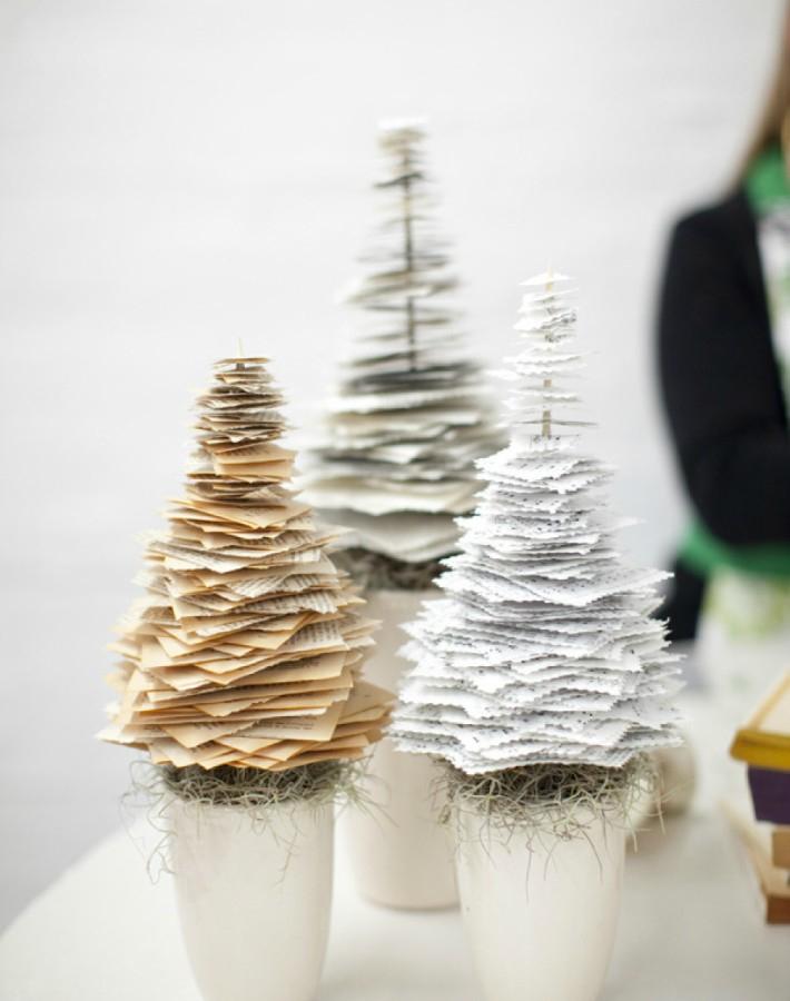 9 diy para crear mini árboles de Navidad