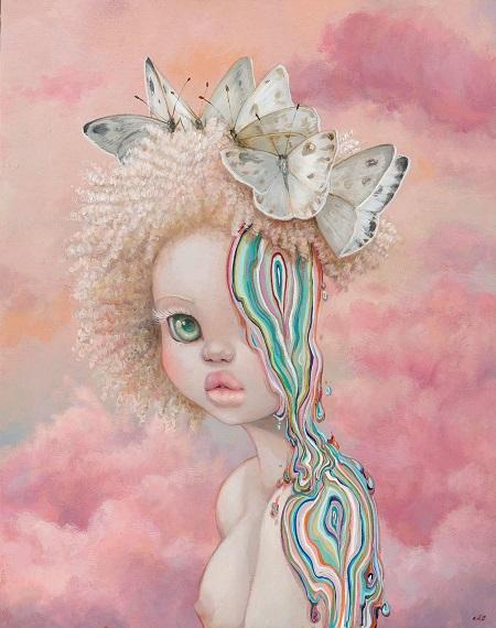 "Camilla d'Errico,""Umoja"" - oil on wood panel | obras de arte pop contemporaneo, pinturas, surrealismo pop, art pictures inspiration | art selecta"