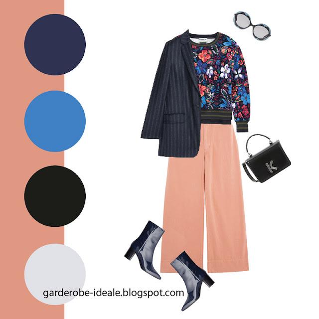 Синий жакет в полоску оверсайз со свитером и розовыми брюками