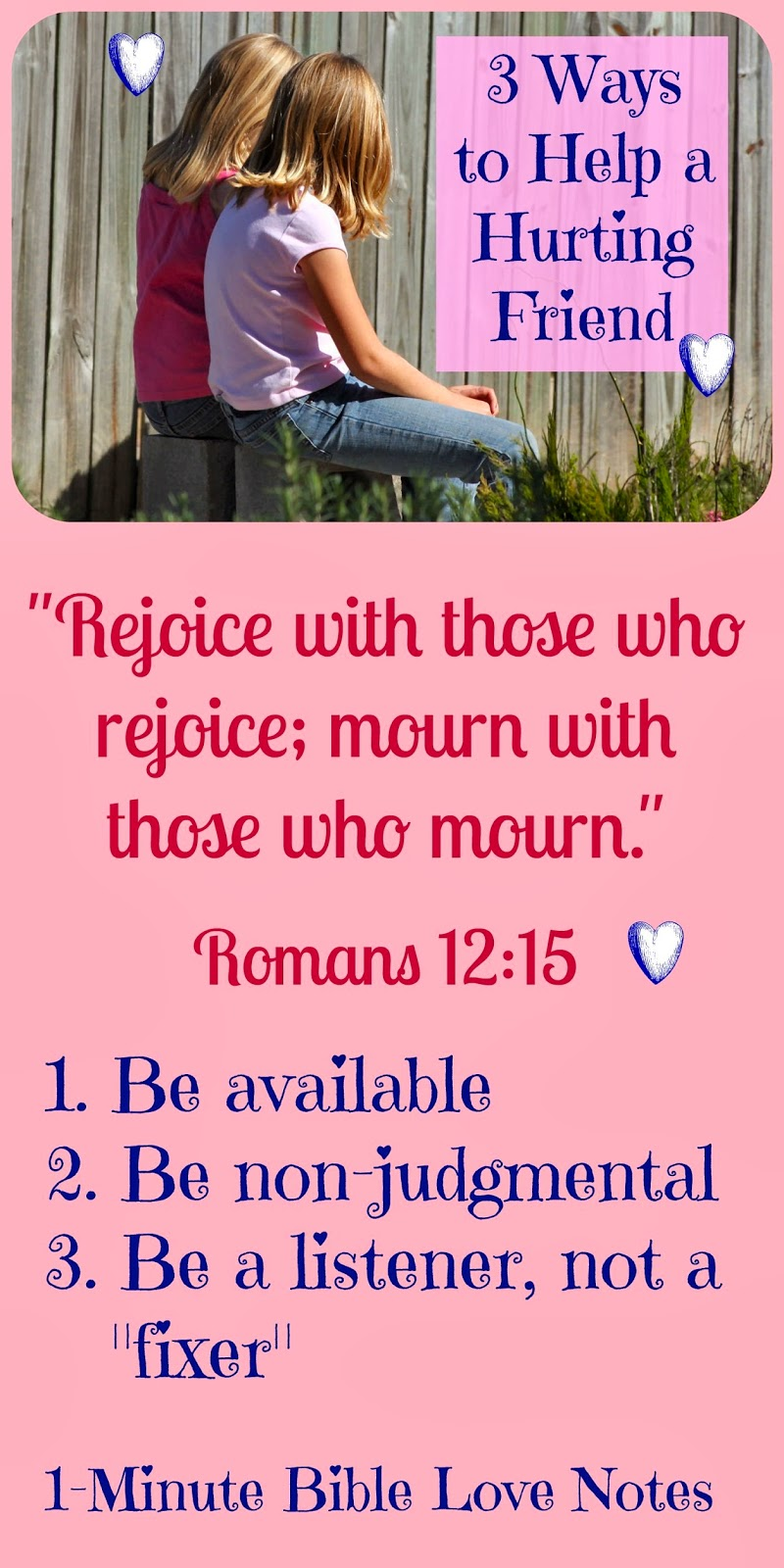2 Corinthians 1:3-5, Psalm 69:20, Romans 12:15, helping a friend