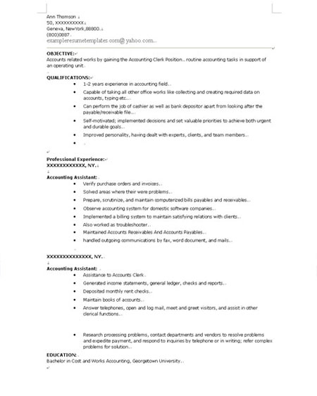 Resume templates accounting clerk