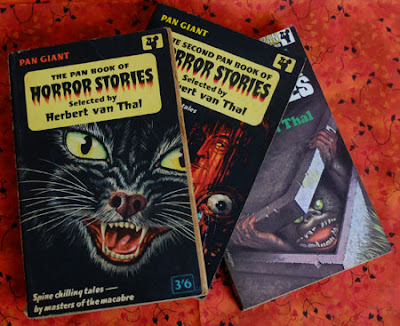 Three volumes of The Pan Book of Horror Stories