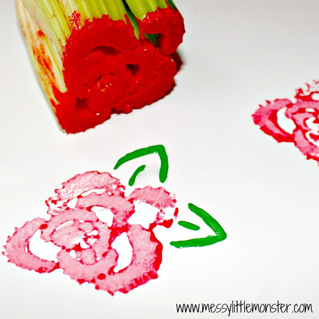 Rose prints using a bunch of celery, fun art technique for kids