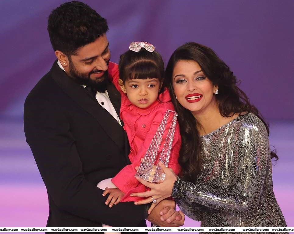 Former Miss World and Bollywood actress Aishwarya Rai on stage with husband Abhishek Bachchan and daughter Aaradhya Bachchan during the Miss World  final at the Excel centre in east London Sunday Dec