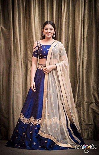 KajalFashion Womens's Blue silk Semi-stitched Bridal Lehengas