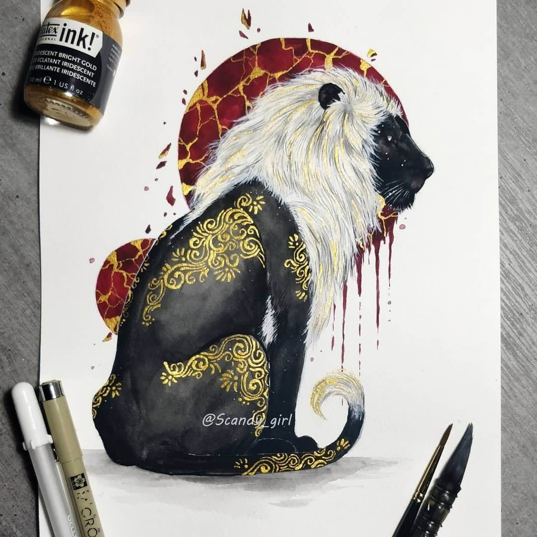 01-Lion-Jonna-Hyttinen-Animals-Mixture-of-Drawings-and-Paintings-www-designstack-co
