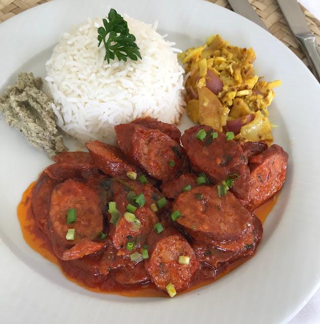 Falaise Rouge, Mauritius, sausage rougaille