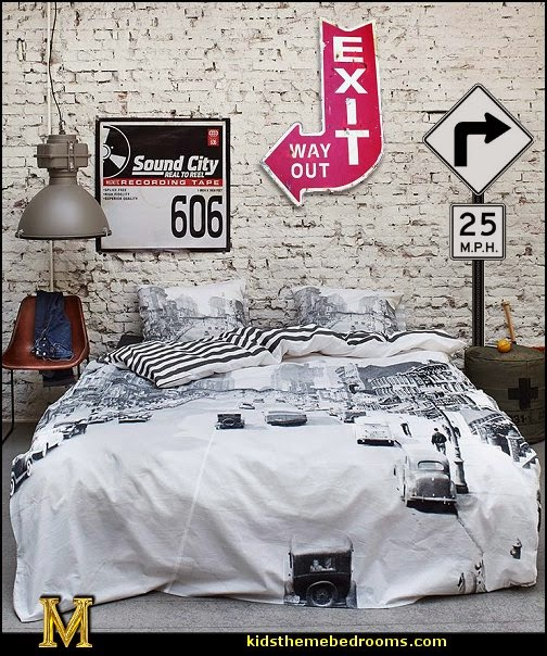 Urban theme bedroom ideas - urban bedrooms - Urban skater theme - Urban style decorating skateboarding theme - Urban bedding -  graffiti themed skater park - city living urban chic decorating ideas - city theme bedrooms - New York City bedding - city decor