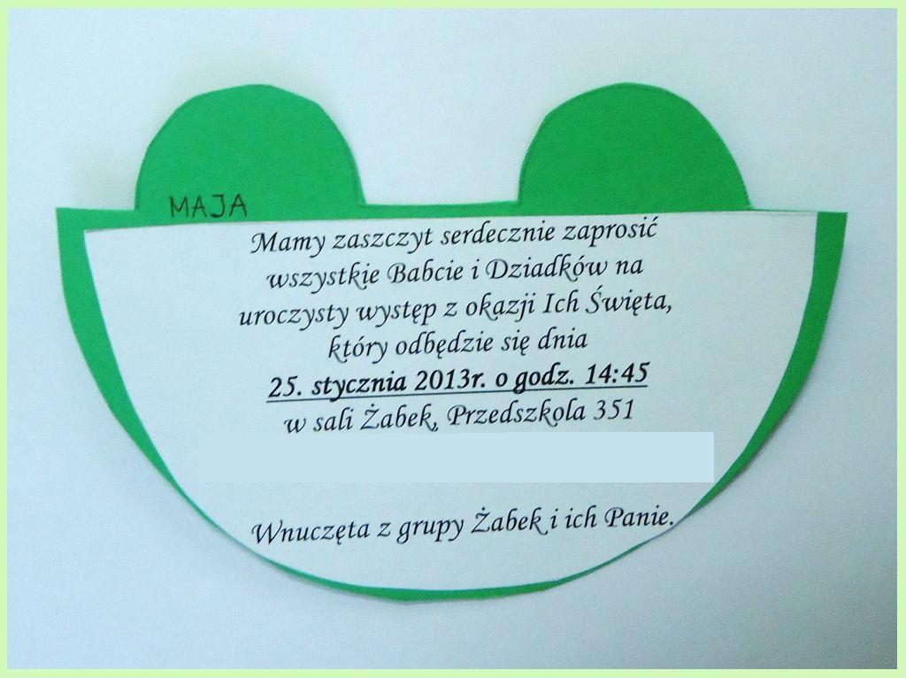 Zaproszenie Na Dzień Babci I Dziadka żabka Arcybazgroły