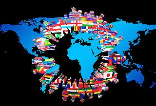 Ilustrasi Gambar Globalisasi, Benua, Bendera Negara, Siluet